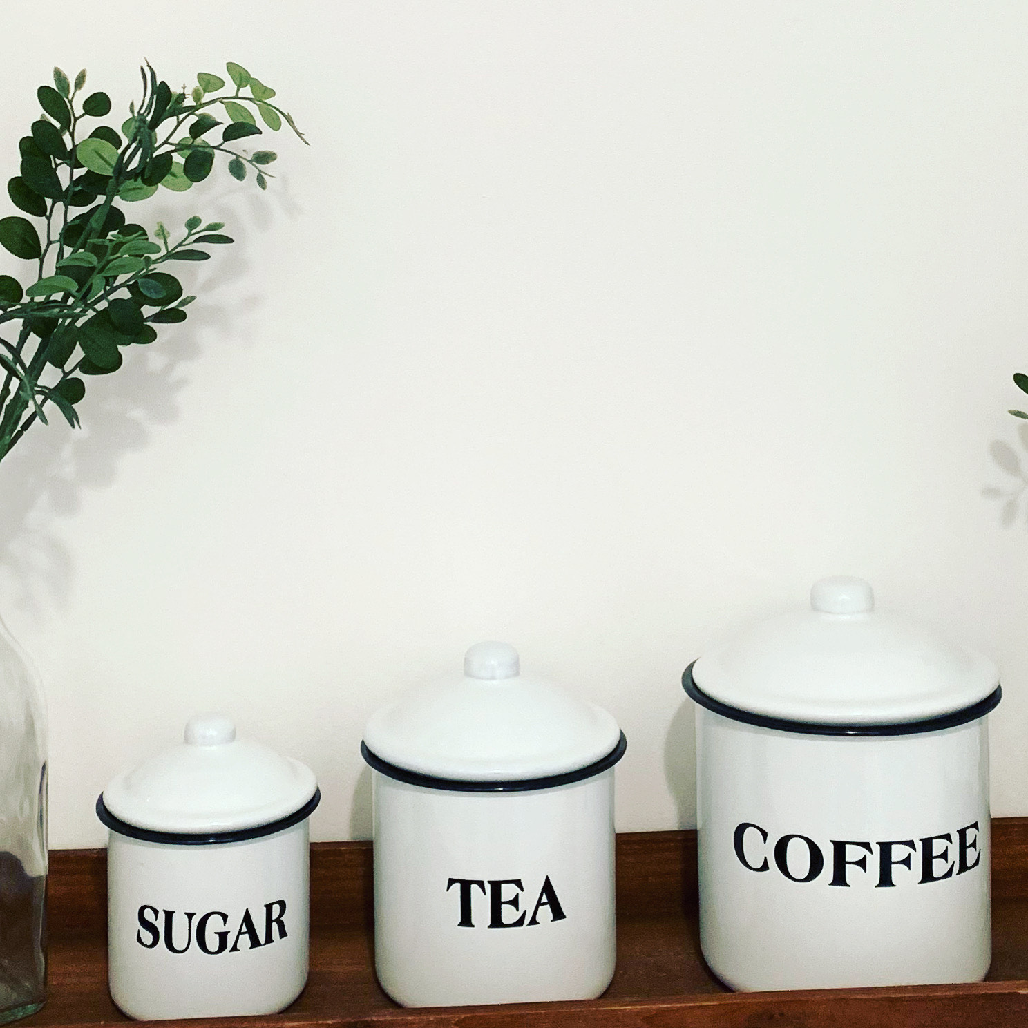 White Farmhouse, Coffee, Tea, Sugar, Kitchen Canister Set