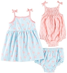BABY ESSENTIALS SIZE 12M 3-PIECE ROMPER AND FLAMINGO DRESS WITH DIAPER COVER SET IN CORAL/BLUE