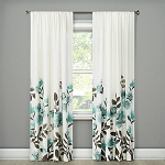 Climbing Floral Window Curtain Panel Blue (54