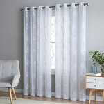BE ARTISTIC BREEZE LEAF 95-INCH GROMMET TOP WINDOW CURTAIN PANEL IN WHITE