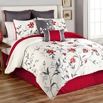 SHEILA 8-PIECE QUEEN COMFORTER SET IN RED