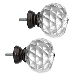 CAMBRIA(R) PREMIER COMPLETE FACETED BALL FINIALS IN MATTE BROWN (SET OF 2)