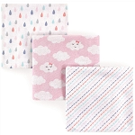 Luvable Friends 3 Piece Flannel Receiving Blanket, Girl Clouds, One Size