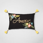 Floral Message Lumbar Throw Pillow Black