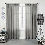 Crushed Sheer Curtain Panel Gray 95