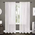 Sheer Pom Pom Curtain Panels Pair White (54