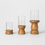 Wooden Candle Holder Set of 3 - Brown - Threshold